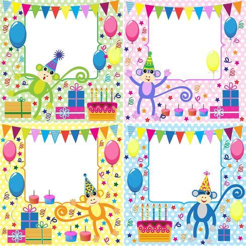 Set verjaardagskaarten met grappige apen vector