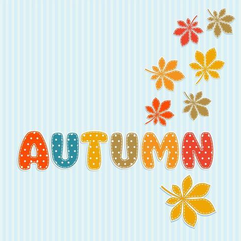 Herfst belettering met herfstbladeren vector