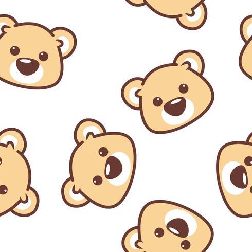 Schattige beer gezicht naadloos patroon vector