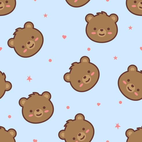 Schattige beer gezicht cartoon naadloze patroon vector
