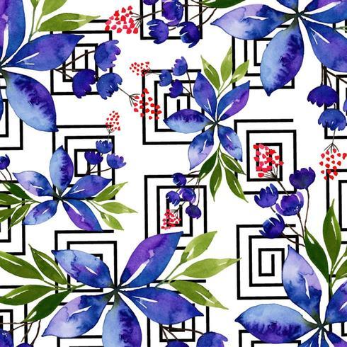 Aquarel Memphis Floral achtergrond vector