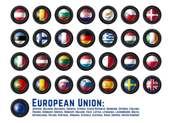 Set cameralens met vlaggen van de Europese Unie vector