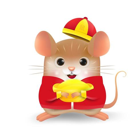 Rat met Chinese goudstaaf vector