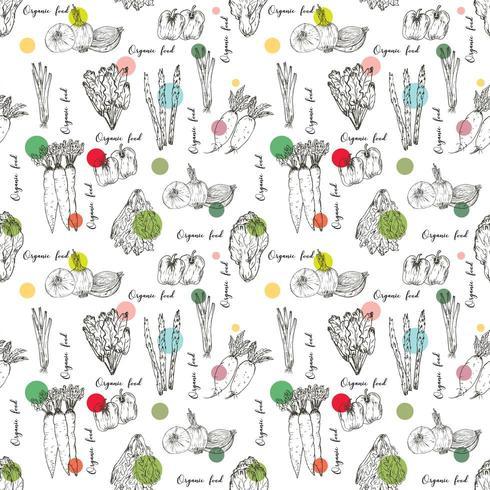 Biologische boerderij groenten naadloze patroon vector