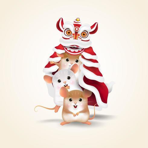 Drie ratten voeren Chinees Nieuwjaar Lion Dance vector