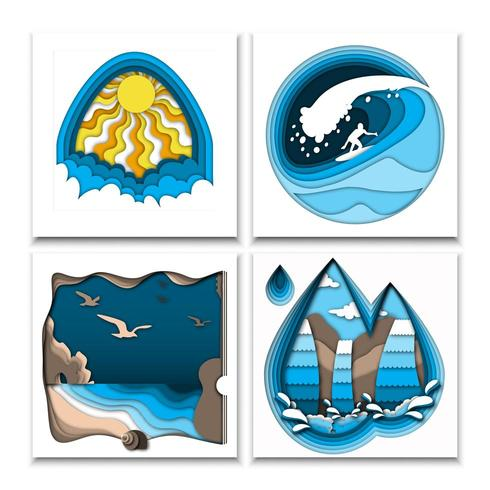 Papier uitgesneden stijl zomerposters met zon, surfer op oceaangolf, zee strand en waterval vector