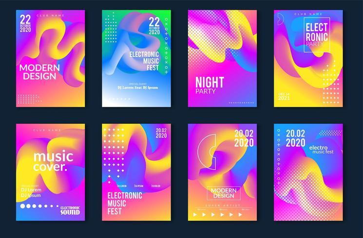 Elektronisch muziekfestival minimaal posterontwerp vector