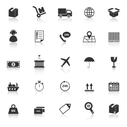 Logistieke pictogrammen met reflectie vector