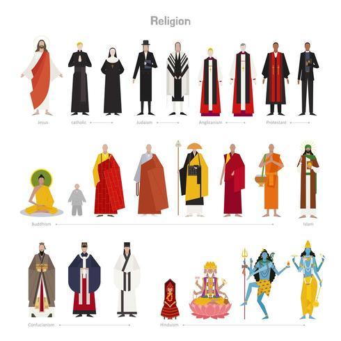 Goden en priesters van verschillende religies. vector