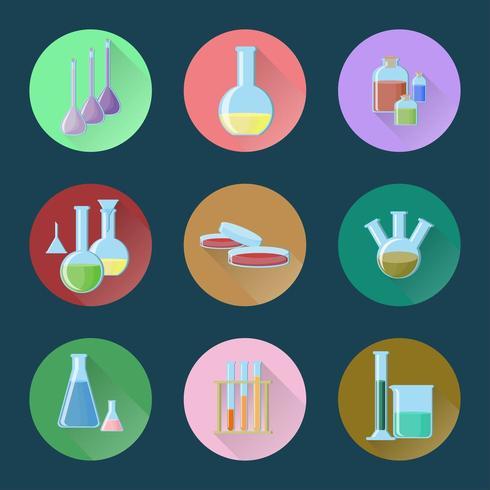 Chemisch glaswerk set van pictogrammen vector