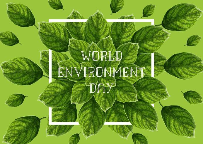Wereld milieu dag banner met groene getextureerde bladeren vector