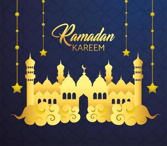 kasteel met sterren opknoping voor ramadan kareem vector
