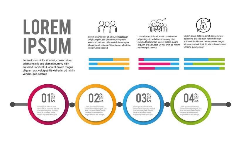 4 stappen infographic bedrijfsinformatieplan vector