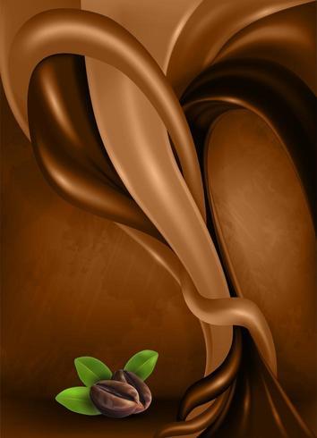 Koffiebonen en bladeren op donkere abstracte achtergrond vector