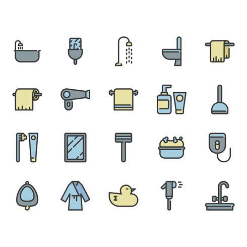 Badkamer gerelateerde icon set vector