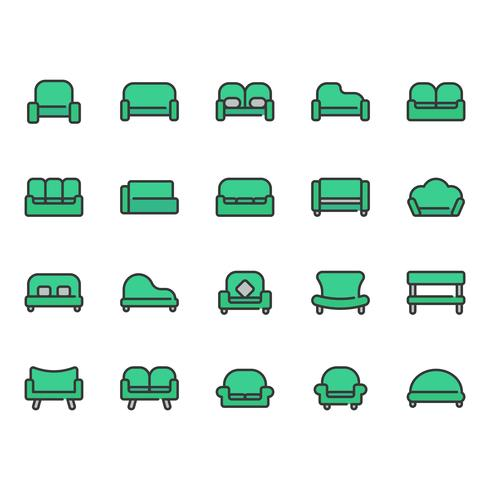 Sofa en stoel icon set vector