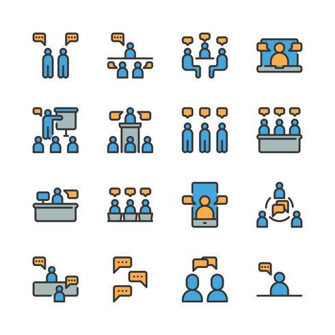 Bedrijf en mensen met spraak zeepbel pictogramserie vector