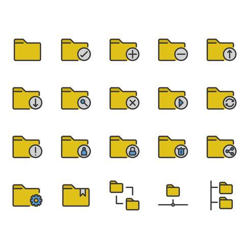Map gerelateerde icon set vector