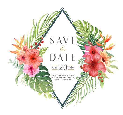 Bewaar de datum aquarel Hibiscus boeket kaart. vector