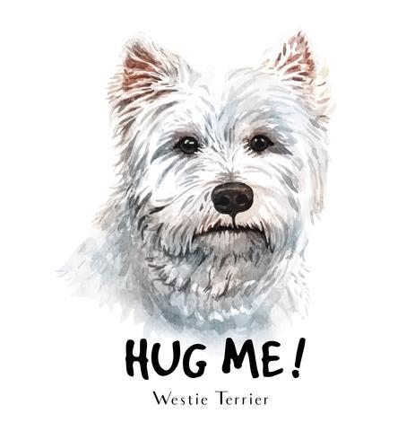 Aquarel hand getekend portret van witte terriër hond vector