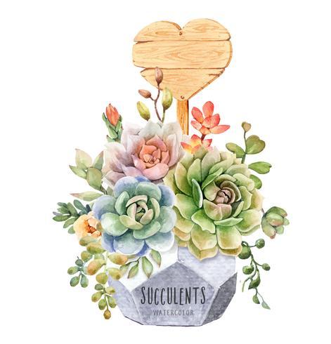 Waterverf van vetplanten in geometrische boompot met het houten teken van de hartvorm. vector