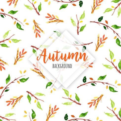 Herfst aquarel tak en bladeren achtergrond vector