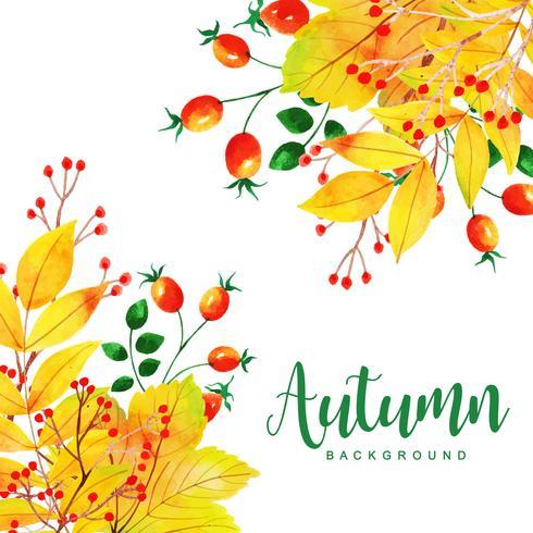 Mooie aquarel herfstbladeren achtergrond vector