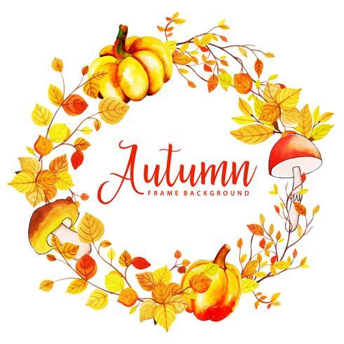 Prachtige aquarel herfstbladeren krans vector