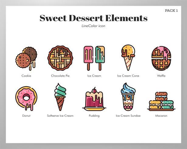 Zoet dessert elementen LineColor pack vector