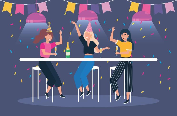 Vrouwen met champagne op feestje vector