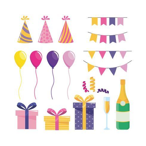 Set feestdecoraties met ballonnen en geschenken vector