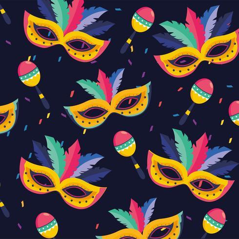 Naadloze carnaval-maskers en maracas-elementen vector