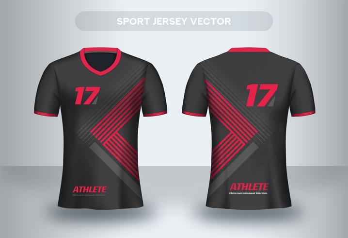 Rode driehoek voetbalshirt ontwerp. Uniform T-shirt voor- en achteraanzicht. vector