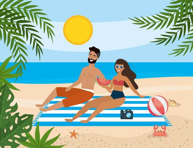 Paar dat op het strand legt vector
