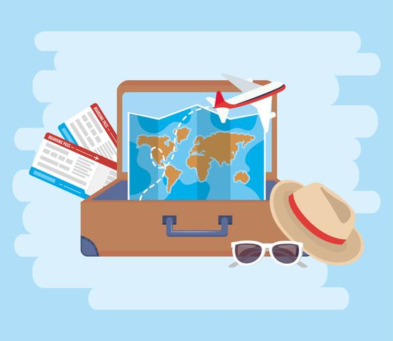 Vliegtuigtickets met en kaart in koffer vector