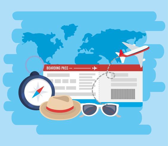 Vliegtuigticket met reiselementen vector