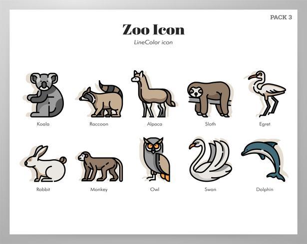 Zoo pictogrammen LineColor pack vector