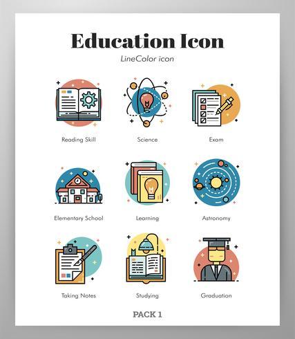 Onderwijs LineColor-pakket vector