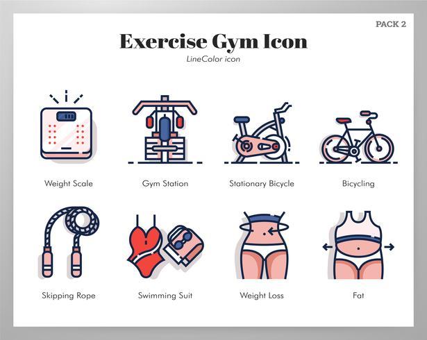 Oefening gym pictogrammen LineColor pack vector