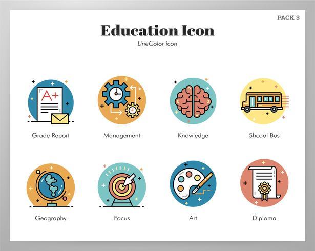 Onderwijs pictogrammen LineColor pack vector