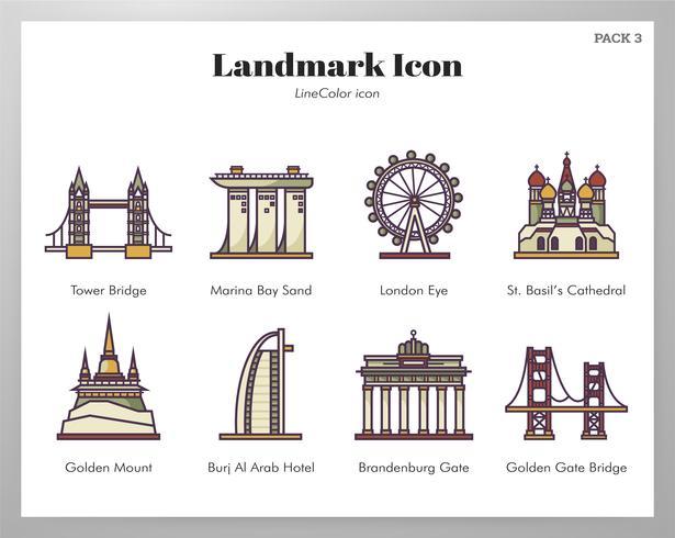 Landmark pictogrammen LineColor pack vector