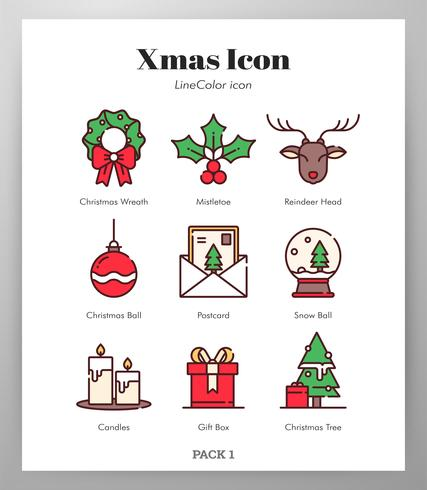 Kerst iconen Pack vector