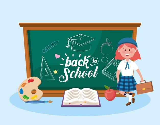 Vrouwelijke student met terug naar schoolbord en boek vector