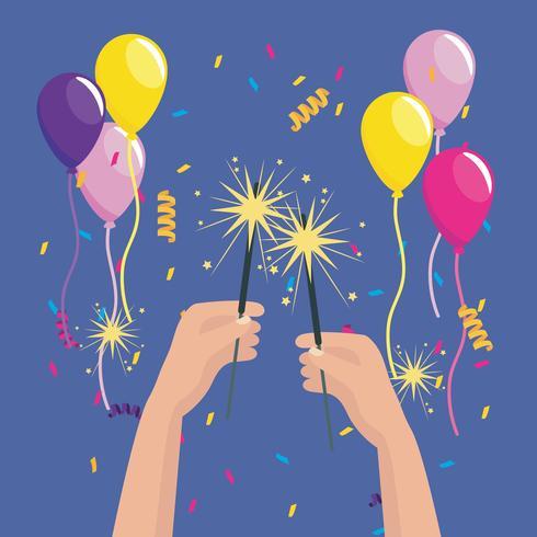 Handen met wonderkaarsen met ballonnen en confetti vector