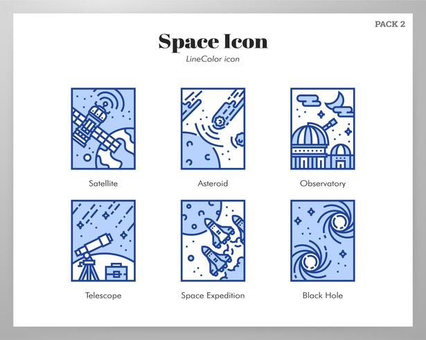 Space frame pictogrammen LineColor pack vector