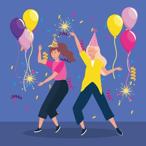 Vrouwen dansen met feestmutsen en ballonnen vector