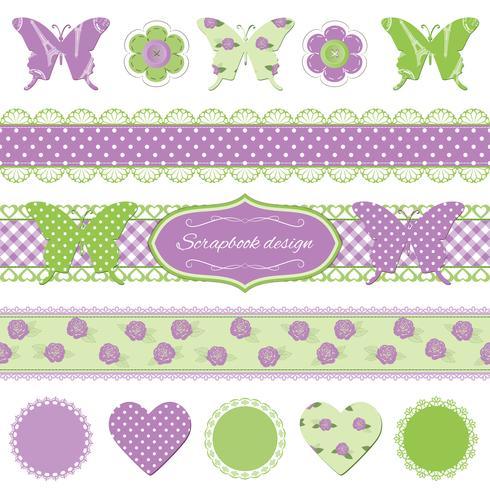 ScrapBook ontwerpelementen. Vlinders en kant. vector