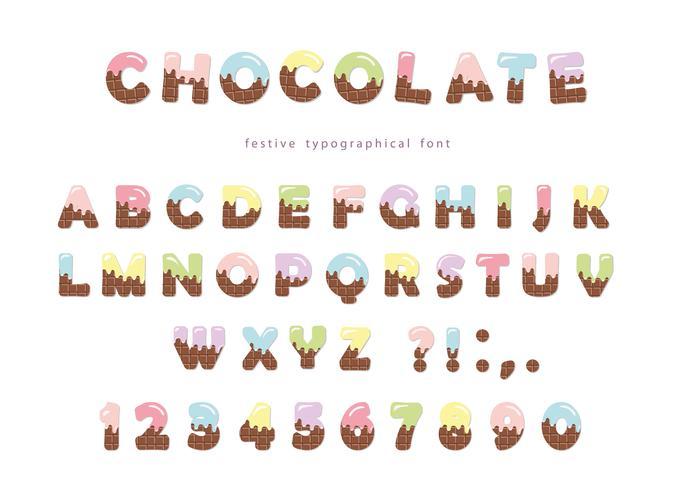 Feestelijke chocolade wafer lettertype vector