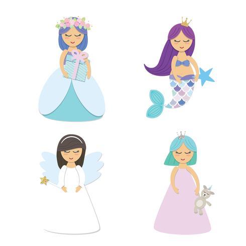Schattige kleine prinses, zeemeermin, engel stripfiguren set geïsoleerd op wit. vector