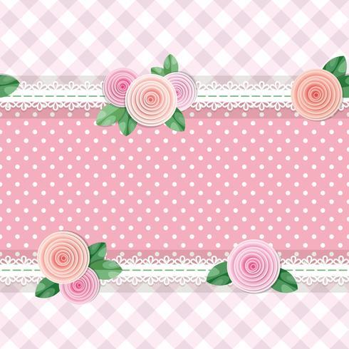 Shabby chic textiel naadloze patroon achtergrond met rozen en polka dots vector